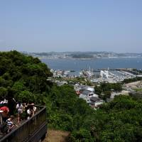 Enoshima's yacht harbor is seen from an observation deck situated on the way to the island's lighthouse.