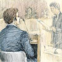 A sketch shows Mark Karpeles (left), head of Mt. Gox, a defunct Tokyo-based bitcoin exchange, attending his first hearing at the Tokyo District Court on Tuesday in an embezzlement case. | KYODO