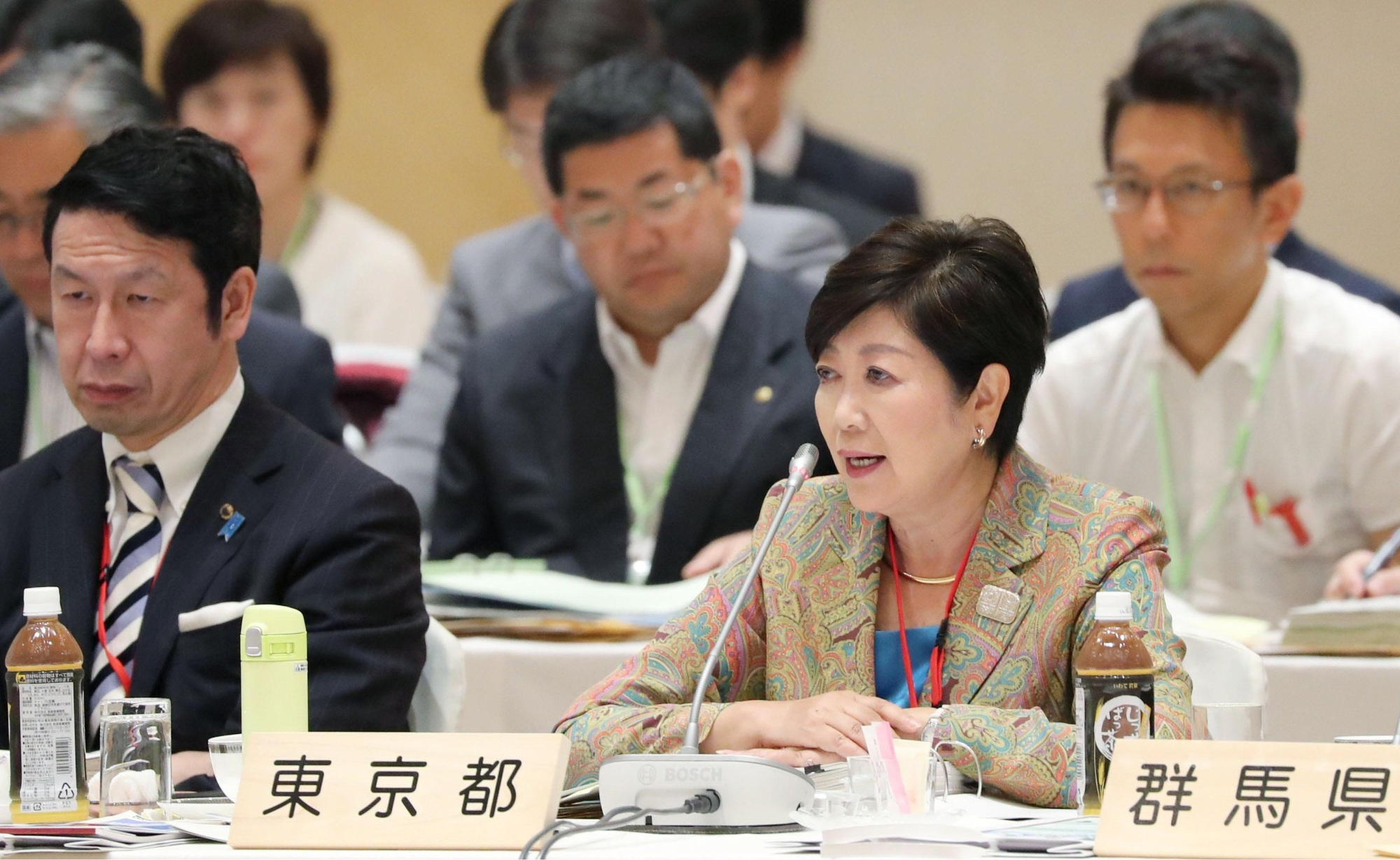 Tokyo Gov. Yuriko Koike speaks during a meeting with other governors in Morioka, Iwate Prefecture, on Thursday.   KYODO