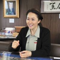 Isihizaka Sangyo Co. President Noriko Ishizaka speaks about her efforts to restore the reputation of her father's waste disposal firm at her office in the town of Miyoshi, Saitama Prefecture, on June 7. | YOSHIAKI MIURA