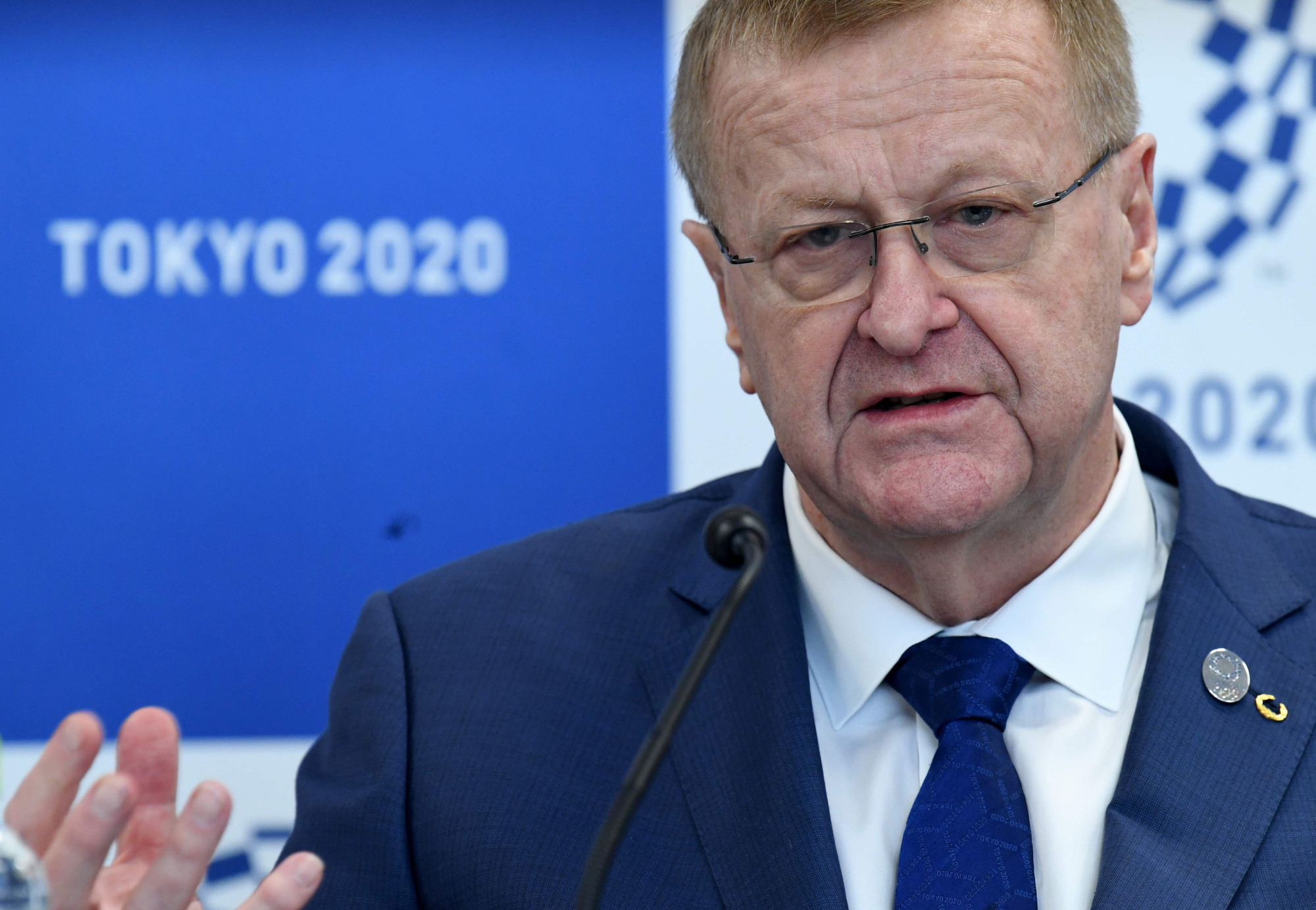 International Olympic Committee Vice President John Coates holds a news conference Friday after meeting with Tokyo 2020 organizers. | AFP-JIJI