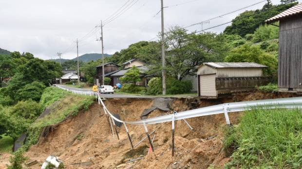 A road in the city of Masuda, Shimane Prefecture, collapsed due to heavy rain that fell across the region Wednesday morning.