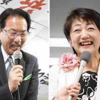 Opposition-backed Kazuko Kori smiles after she won the mayoral election in Sendai on Sunday night. Hironori Sugawara, backed by the Liberal Democratic Party and its coalition partner, Komeito, lost the election. | KYODO