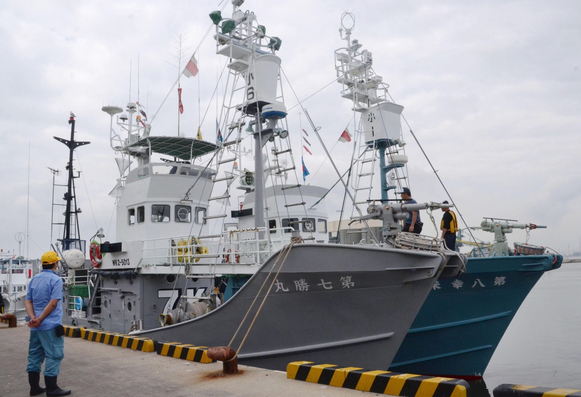 Whaling vessels are set to leave Hachinohe port in Aomori Prefecture on Tuesday, to conduct what the government calls research whaling in the Pacific. | KYODO