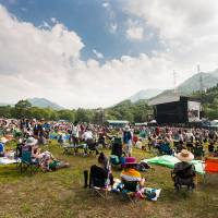 Something for the weekend: The Green Stage is seen on a rare sunny day. Imagine mud and galoshes when it rains. | JAMES HADFIELD