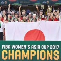 Japan celebrates after beating Australia for the Asia title on Saturday in Bangalore, India. | KYODO