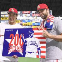 SoftBank's Sarfate joins exclusive club with 200th career save