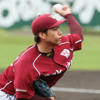 Eagles southpaw Wataru Karashima delivers a pitch during Tuesday afternoon's game against the Fighters at Hakodate Ocean Stadium. Tohoku Rakuten won 5-1. | KYODO