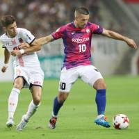 Podolski strikes twice in J. League debut to lead Vissel past Ardija