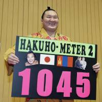 Yokozuna Hakuho poses with a sign after recording the 1,045th victory of his career, equaling the total of late yokozuna Chiyonofuji, on Monday. | KYODO