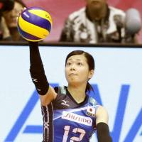 Miya Sato serves during Japan's victory over Brazil on Sunday in Sendai. | KYODO