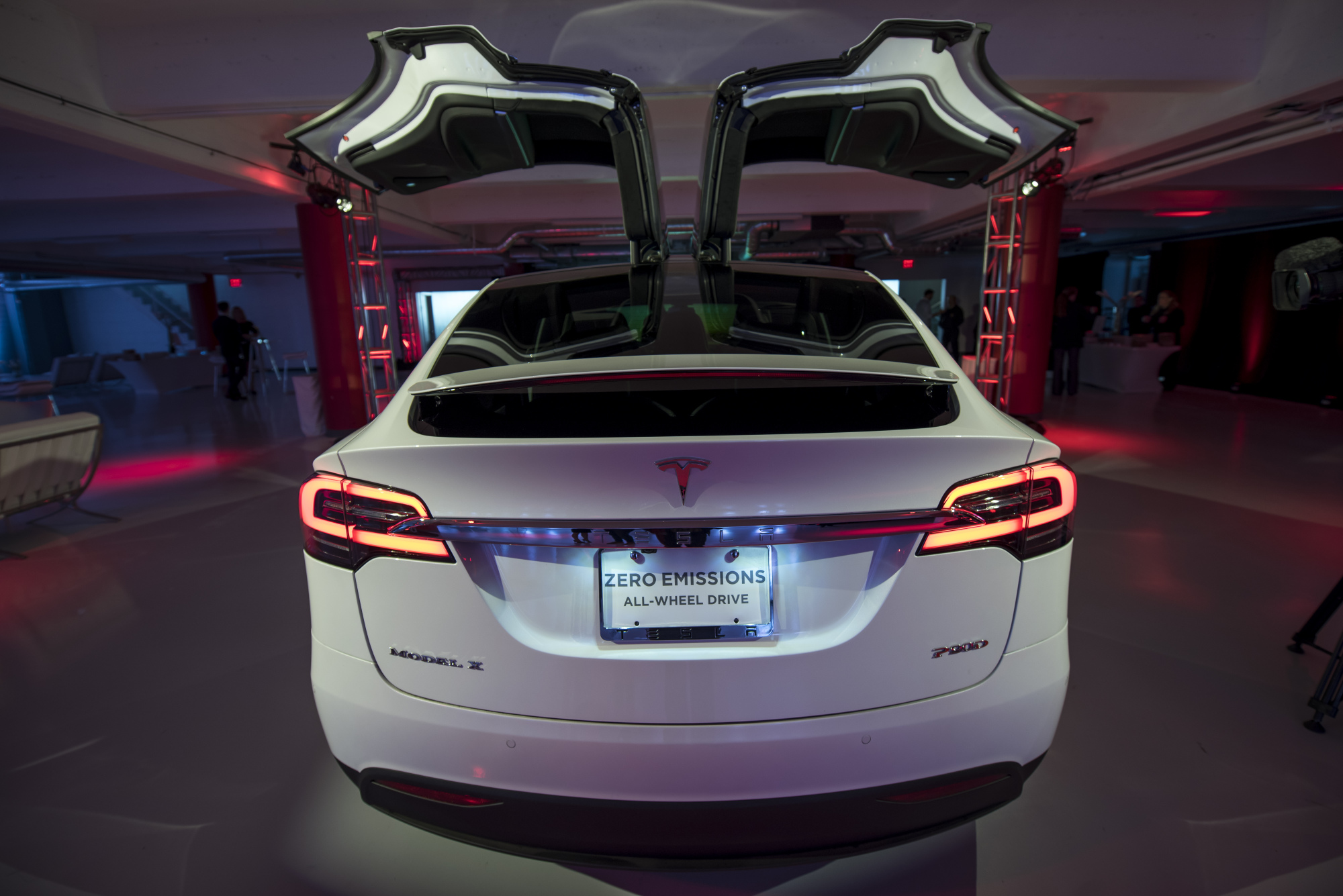 A Tesla Model X stands on display at the company's showroom in San Francisco. Japan's Tanaka Chemical, which has a long history in developing battery materials, is riding on Tesla's drive to make electric vehicles ubiquitous.   BLOOMBERG