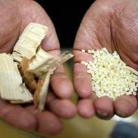 These wood chips and fibers, when converted into cellulose nanofibers, are used to make lighter auto parts. | REUTERS