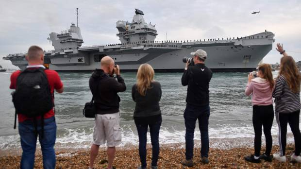Britain's new aircraft carrier HMS Queen Elizabeth arrives at Portsmouth port