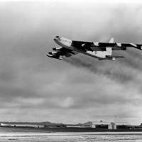 A U.S. Air Force B-52 bomber takes off from Guam for a strike against the Viet Cong in Vietnam, 2,200 miles away, during the Vietnam War in 1965. The small U.S. territory of Guam has become a focal point after North Korea's army threatened to use ballistic missiles to create an 'enveloping fire' around the island. The exclamation came after President Donald Trump warned Pyongyang of 'fire and fury like the world has never seen' on Tuesday. | U.S. AIR FORCE / VIA AP, FILE