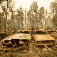 Burned-out vintage cars line a property after the Loma fire burned through Loma Chiquita Road near Morgan Hill, California, last September.   AP