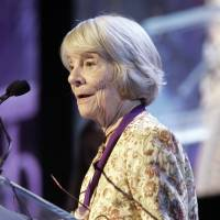 Knopf editor Judith Jones delivers her acceptance speech after she received the lifetime achievement award during the 2006 James Beard Foundation Awards ceremony, in New York. Jones died of complications from Alzheimer's on Wednesday at her summer home in Walden, Vermont. She was 93. | AP