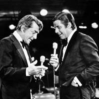 Entertainers Dean Martin (left) and Jerry Lewis appear together on Lewis's annual telethon for the Muscular Dystrophy Association in Las Vegas IN 1976.   AP