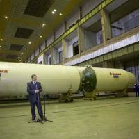 Ukraine's President Petro Poroshenko delivers a speech as he visits the rocket factory Yuzhmash in Dnipro (Dnipropetrovsk), Ukraine, in 2014. | MYKHAILO MARKIV / UKRAINIAN PRESIDENTIAL PRESS SERVICE / POOL / VIA REUTERS