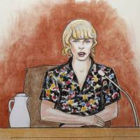 Singer Taylor Swift speaks from the witness stand during a trial in Denver on Thursday over whether David Mueller, a former radio DJ, reached under her skirt and intentionally grabbed her backside during a meet-and-greet photo session before a 2013 concert held in Denver. | AP