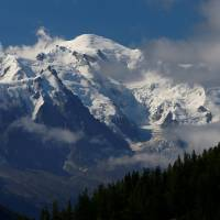 The Mont-Blanc mountain and summit are seen from Emosson, Switzerland, Wednesday. | REUTERS