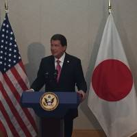 New U.S. Ambassador to Japan Bill Hagerty speaks to the media Thursday at Narita airport in Chiba Prefecture shortly after his arrival. | ALEX MARTIN