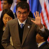 English-fluent Foreign Minister Kono makes international debut at ASEAN gathering