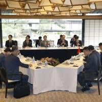 Delegations from Japan, China and South Korea hold talks concerning cultural affairs at a meeting in Kyoto on Saturday. | KYODO