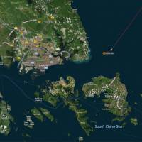 A map shows the location where the Alnic MC merchant vessel came to a halt after a collision with the guided-missile destroyer USS John S. McCain east of Singapore on Monday. | REUTERS
