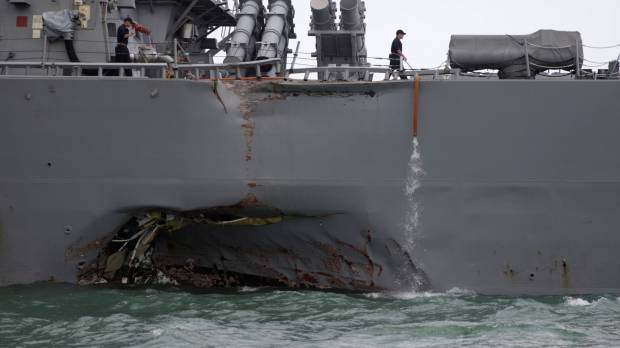 Ten sailors missing after Yokosuka-based U.S. warship collides with tanker off Singapore