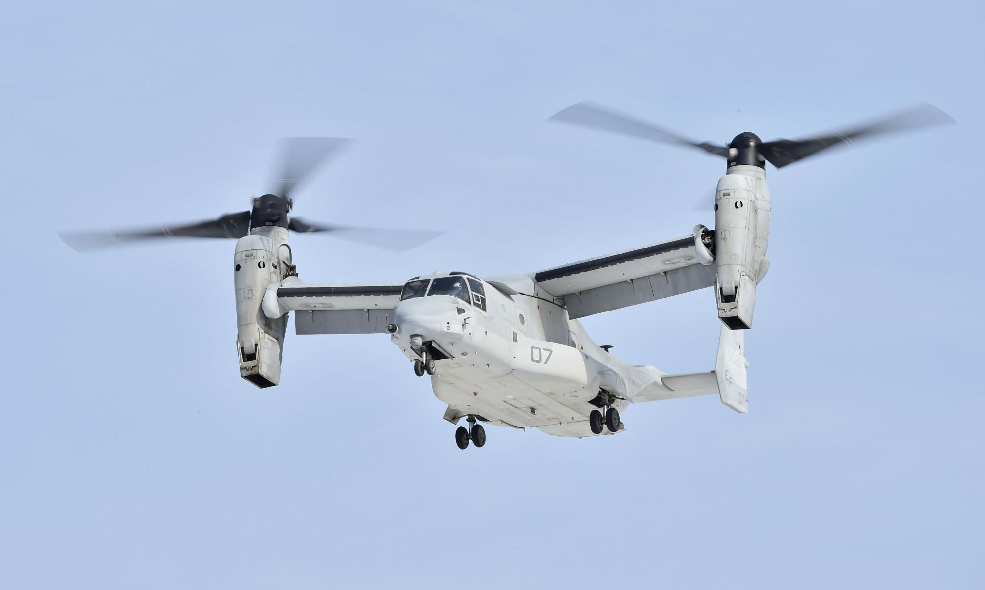 A U.S. Marine Corps Osprey aircraft participates in a joint training exercise with the Ground Self-Defense Force in Niigata in March. | KYODO