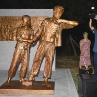 A new statue symbolizing Korean victims of Japanese forced labor during World War II is installed in a park in Incheon on Saturday. | KYODO