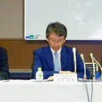 At a Tuesday news conference, University of Tokyo officials announce the discovery of misconduct involving two researchers at its Institute of Molecular and Cellular Biosciences. | KYODO