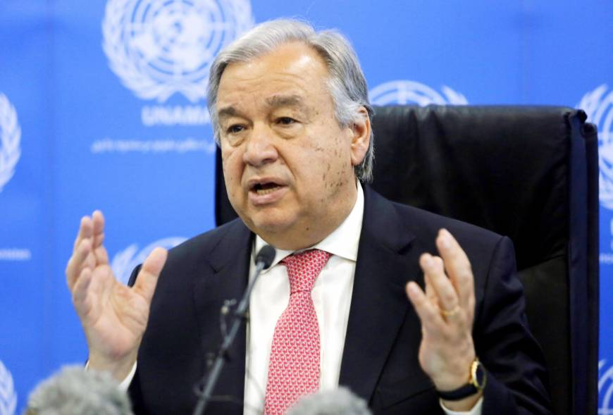 U.N. Secretary-General Antonio Guterres attends a news conference in Kabul on June 14. | KYODO