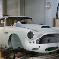 An Aston Martin DB4 is undergoing restoration work at Garage Igarashi, one of the country's largest independent repair shops. | PARKER J. ALLEN