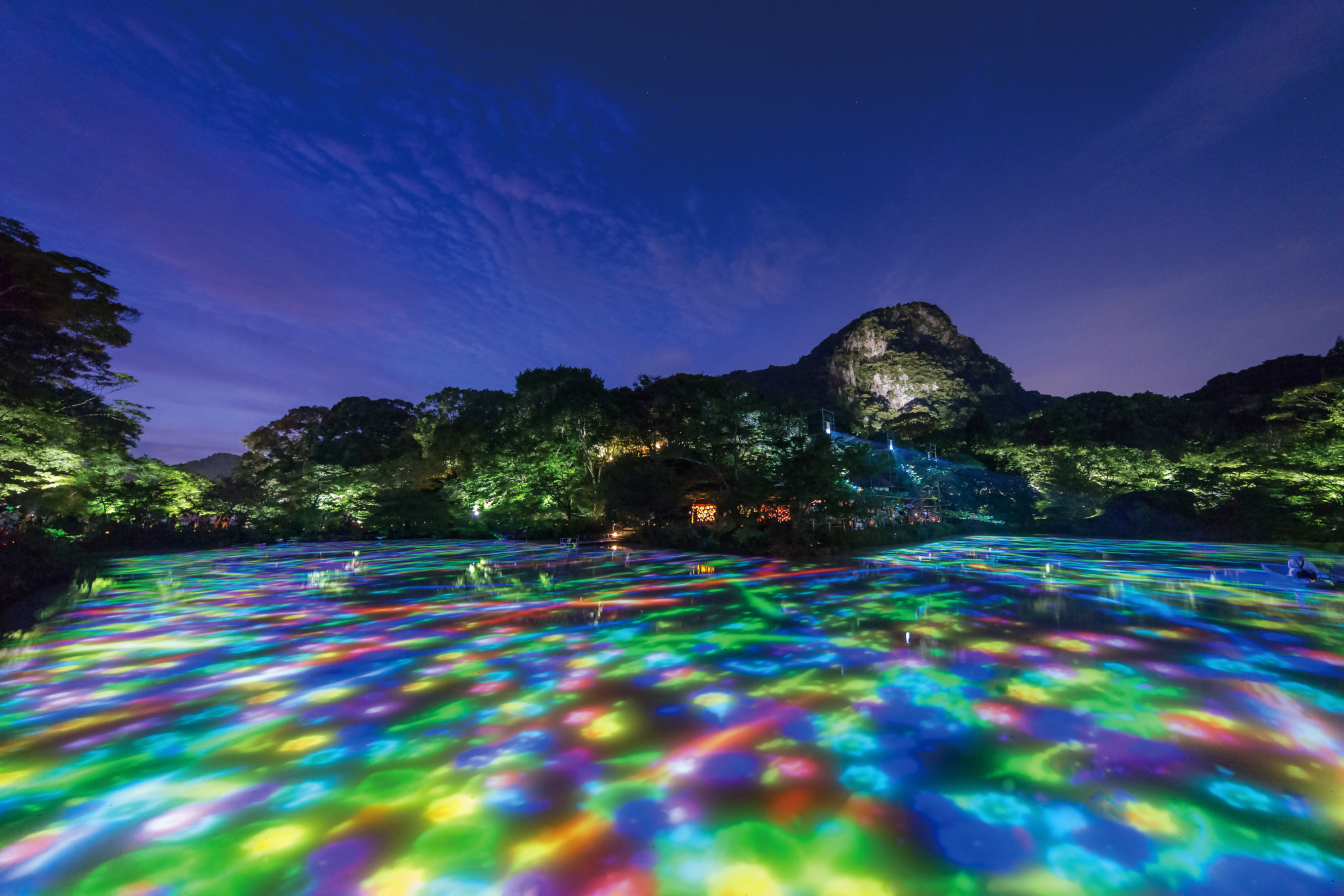 'Drawing on the Water Surface Created by the Dance of Koi and Boats,' 'A Forest Where Gods Live' | COURTESY OF TEAMLAB