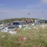 Total rubbish: Campers leave the Beach Break music event in Wales in 2011. Fuji Rock Festival prides itself on being one of the most environmentally friendly music events in the world, but some attendees worry that it will fall prey to the litter problems that plague other outdoor concerts. | GETTY IMAGES
