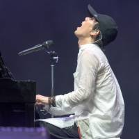 Piano man: Radwimps performed on the White Stage on Friday, a set that included their hit song 'Zenzenzense.' | JAMES HADFIELD