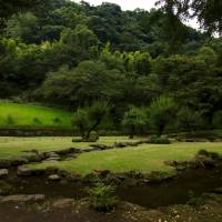 Ready, set, compose: Sengan-en's Kyokusui, a poetic 'live-streaming' party garden where poets race to write before a floating sake cup reaches them, on penalty of drink. | KIT NAGAMURA