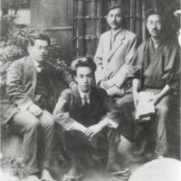Happy days: Already famous, Akutagawa (second from left) and his peers pose for a photo in 1919.   PUBLIC DOMAIN