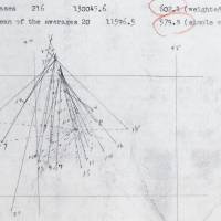 Marking the spot: Kaoru Ogura's re-creation of a diagram in Shogo Nagaoka's research paper detailing how he calculated the exact location of the A-bomb hypocenter.   PETER CHORDAS