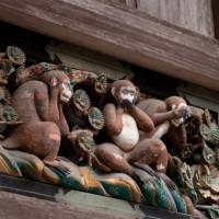 The troubles they've seen:  Despite their best efforts, the famous three monkeys at Nikko's Toshogu shrine have no doubt seen and heard their share from 'bad tourists' over the years. But perhaps all these visitors needed was some lessons in travel manners. | KAZUYA INOH