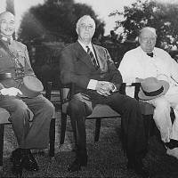 Chinese leader Gen.  Chiang Kai-shek, U.S. President Franklin D. Roosevelt and British Winston Churchill in November 1943 at the Cairo Conference, which outlined the Allied  wartime policy against Japan and the shape of postwar Asia | U.S. NATIONAL ARCHIVES