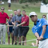 Hideki Matsuyama hits a shot during the second round of the Bridgestone Invitational on Friday. | USA TODAY / VIA REUTERS