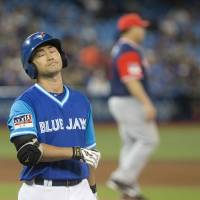Norichika Aoki reacts after popping out during the Blue Jays' game against the Twins on Friday. | AP