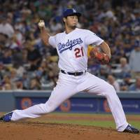 Yu Darvish pitches against the White Sox on Wednesday in Los Angeles. Darvish was placed on the 10-day disabled list on Saturday. | USA TODAY / VIA REUTERS
