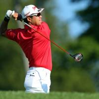 Hideki Matsuyama tees off on the 11th hole during the first round of The Northern Trust tournament on Thursday in Old Westbury, New York. | USA TODAY / VIA REUTERS
