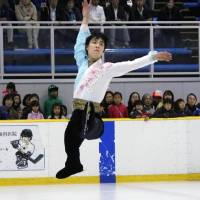 Yuzuru Hanyu performs during an exhibition at Bank of Yokohama Ice Arena on Wednesday. | KYODO