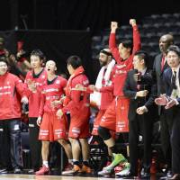 The Chiba Jets Funabashi, seen during January's All-Japan Championship, have made focusing on intangibles an important part of their process for evaluating players. | KAZ NAGATSUKA