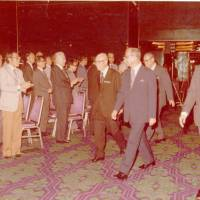 Tun Hussein Onn, then-prime minister of Malaysia, arrives for the official launching of the First Joint Annual Conference of the Malaysia-Japan Economic Association (MAJECA)/Japan-Malaysia Economic Association (JAMECA) on Nov. 14, 1977. | MAJECA